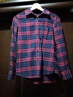 🚚 Lativ法蘭絨格紋襯衫-女(藍紅格)S號