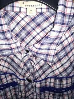 Plaid long sleeves with collar