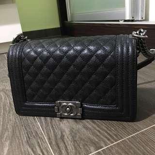 Chanel Boy black caviar