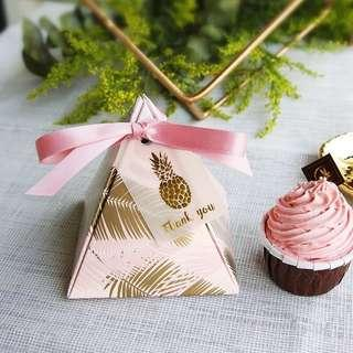 PO Pink Base Gold Leaves Pyramid Candy Favor Paper Box