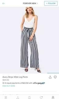 Forever New Striped Pants Size 8 RRP $89.99