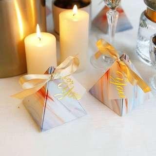 PO Gradient Watercolor Design Pyramid Candy Favor Paper Box