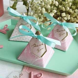 PO Pink Swirl Pyramid Candy Favor Paper Box