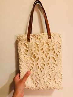 Italy florence hand bag canvas leather