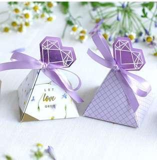 PO Purple Diamond Tag Pyramid Candy Favor Paper Box
