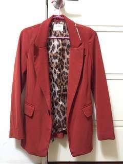 🚚 Air space購入 豹紋領紅色西裝外套