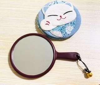 現貨▪️包郵▪️日本🇯🇵旅行購入 復古和風招財🐱手持鏡子