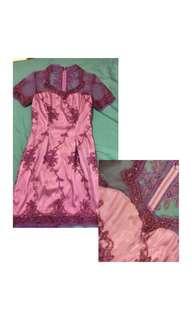 Dress brokat ungu