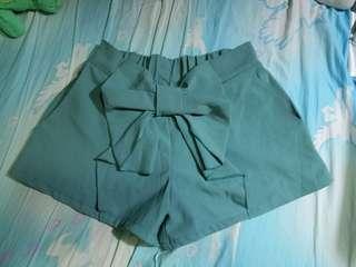 韓系 蝴蝶結 高腰裙褲 短褲 短裙 湖水綠色