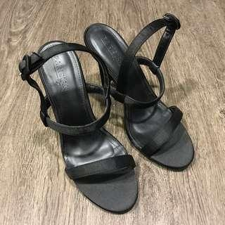 SM Parisian Black Strappy Heels
