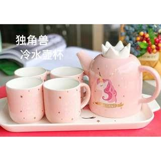 Unicorn ceramic water jug flask with cup set