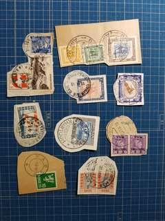 40-50年代蘇丹、法國等郵戳剪片共9份