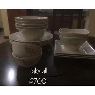 Dish sets too low price good as new rarely used super rush sale
