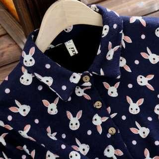 🚚 🐇 Cute Japanese rabbit pattern winter dress long sleeves XXL marine blue comfortable outerwear