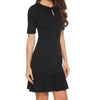 🚚 👗 Cute black dress simple and elegant, short with bow and half sleeves