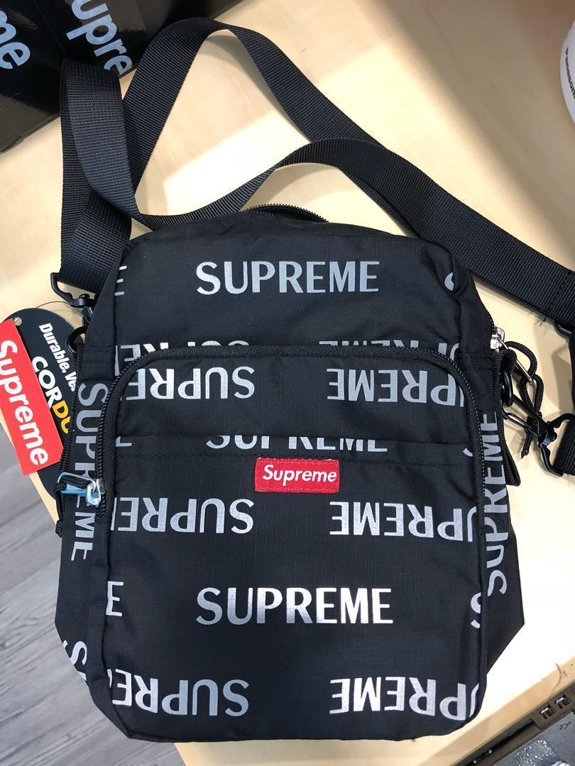 Supreme 3m Reflective Repeat Shoulder Bag Black Hk Aaa Men S Fashion Accessories On Carou