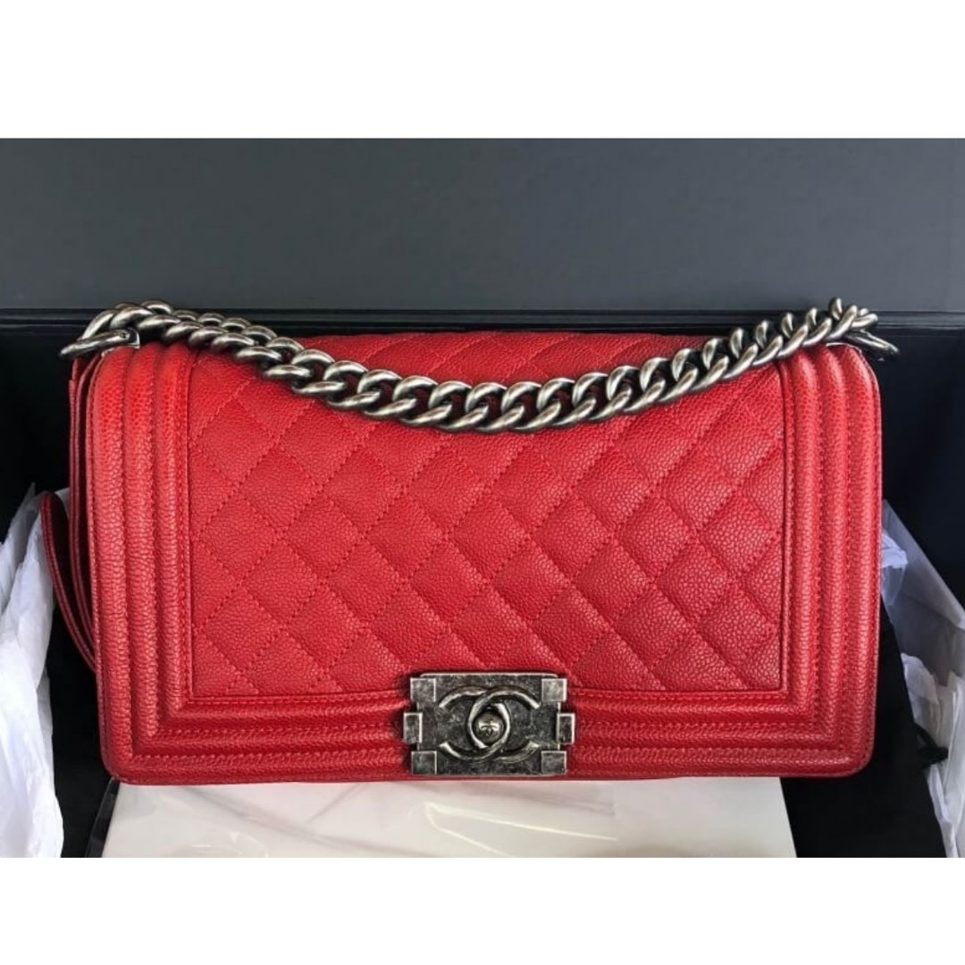 1e781de89d9334 Authentic Chanel Boy Old Medium Red Rhw Bag, Luxury, Bags & Wallets ...