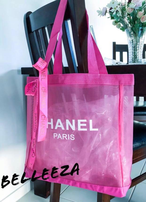 Authentic Chanel VIP GIFT Pink Mesh Tote With Ribbon