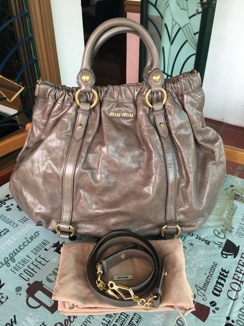 3bae787eb874 Authentic preloved miu way vintage leather gray bag jpg 810x1080 Gray miu  bag