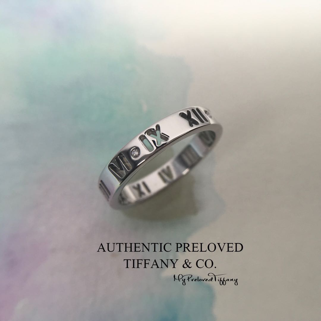 4d3f2fe52 Authentic Tiffany & Co Atlas Pierced Ring 3 Diamond White Gold 18K Wedding  Band Ring 1 diamond MISSING, Women's Fashion, Jewellery, Rings on Carousell