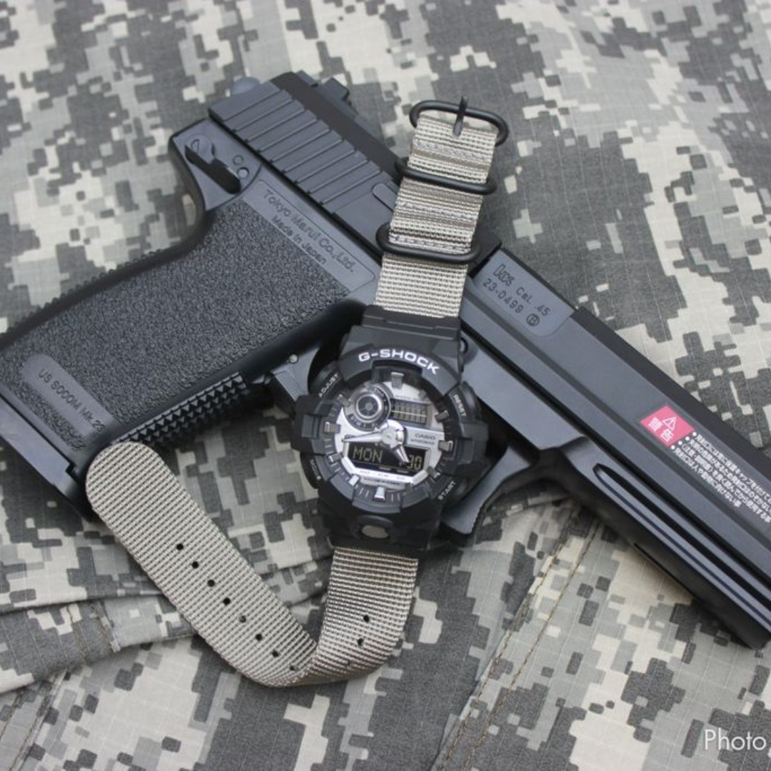 3e03981a232 Ballistic Nylon Ash Grey Zulu Watch Strap with G-Shock Nato Adapter and  Spring Bar Tool