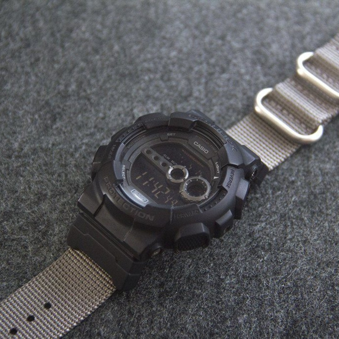a95e3afc34b Ballistic Nylon Ash Grey Zulu Watch Strap with G-Shock Nato Adapter ...