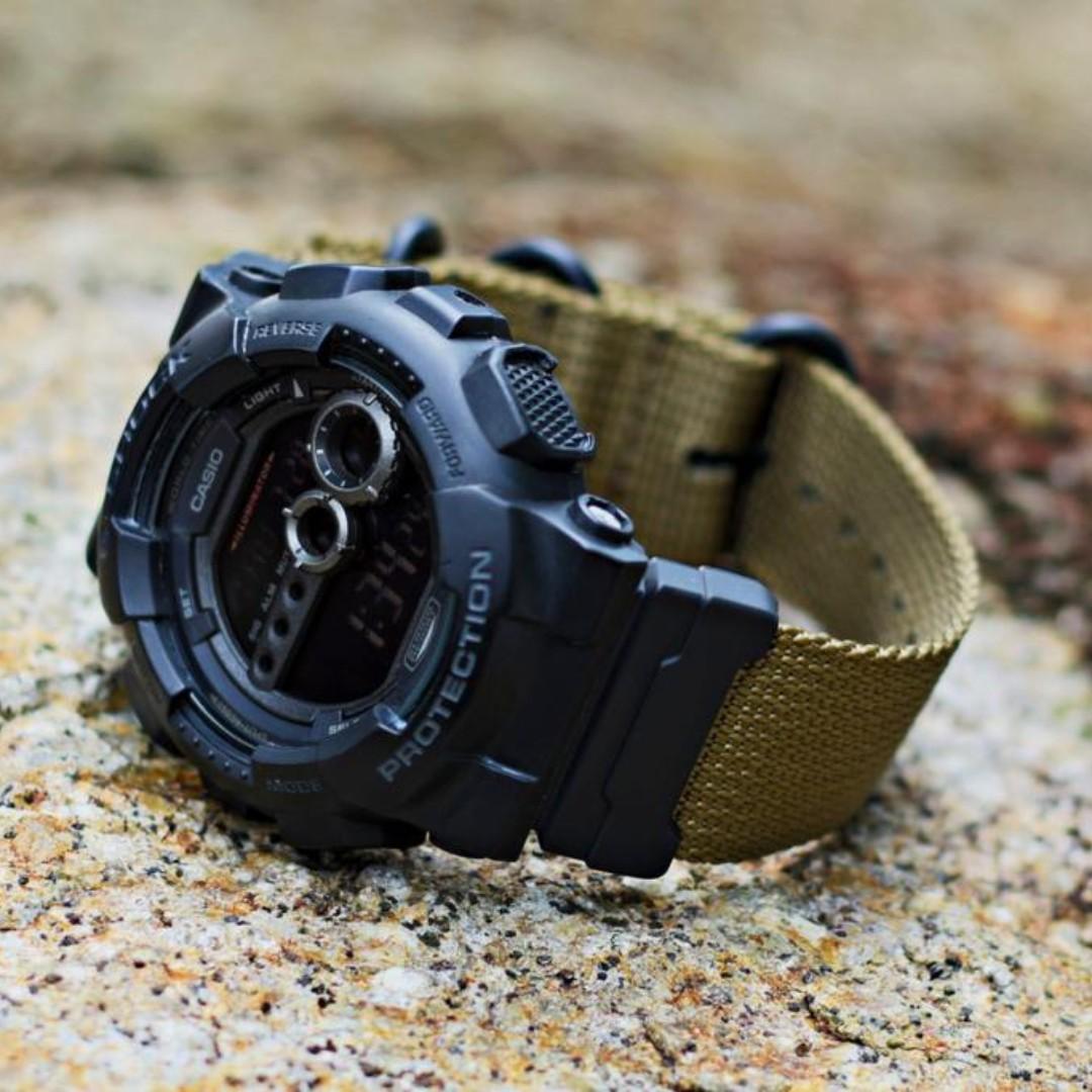 80468462e16 Ballistic Nylon Bronze Brown Zulu Watch Strap with G-Shock Nato ...