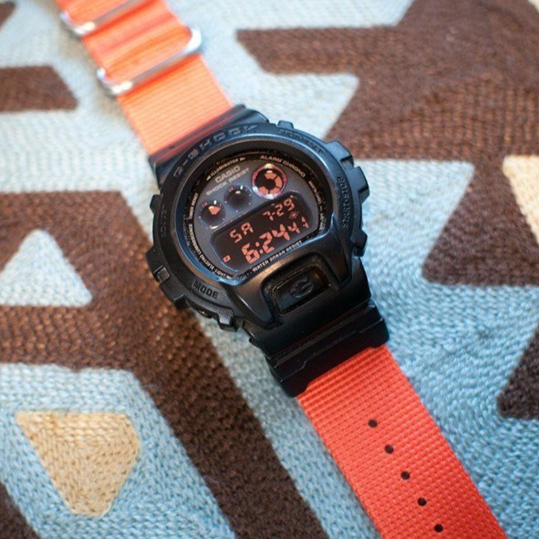 3fd028213cb Ballistic Nylon Fire Orange Zulu Watch Strap with G-Shock Nato Adapter and  Spring Bar Tool