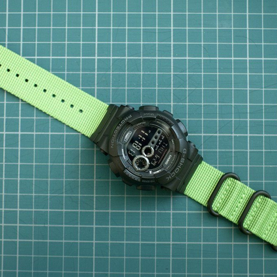 793f7eccb68 Ballistic Nylon Shamrock Green Zulu Watch Strap with G-Shock Nato ...