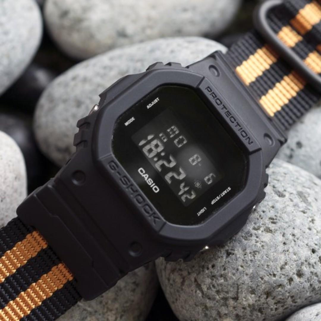 c99f4805e18 Ballistic Nylon Tangerine Stripe Zulu Watch Strap with G-Shock Nato ...