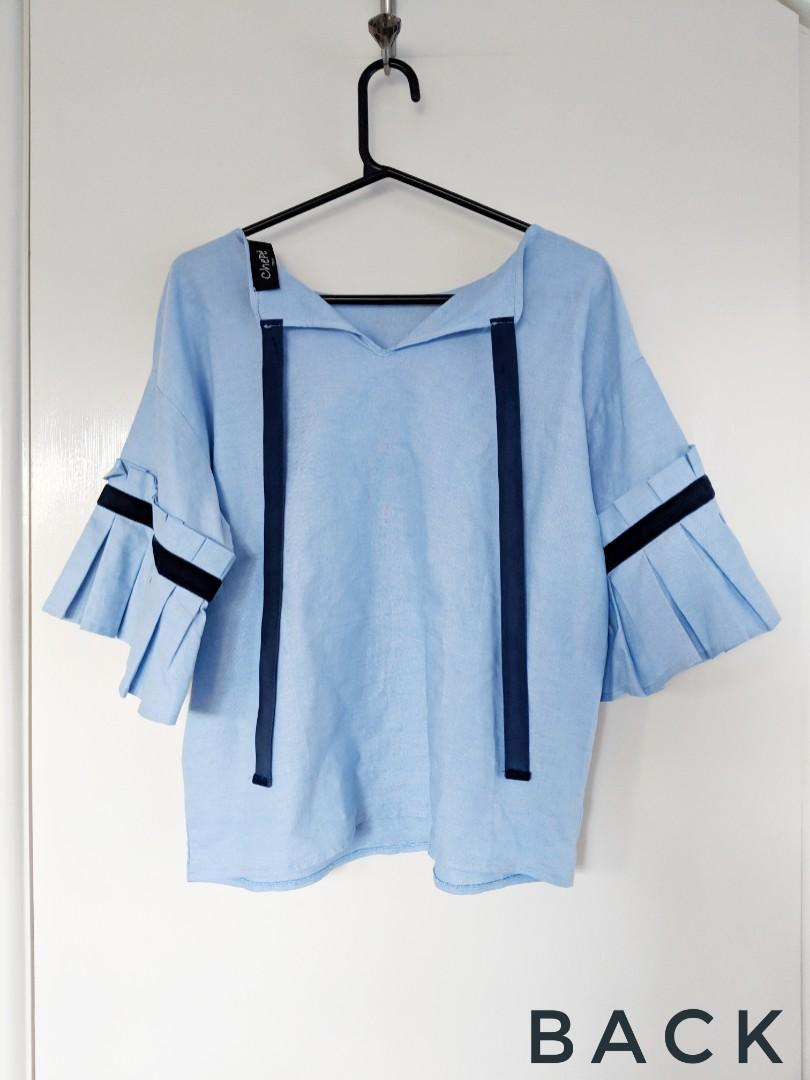 Blue summer top with sleeve detail and velvet ribbon   Size AU 12-14