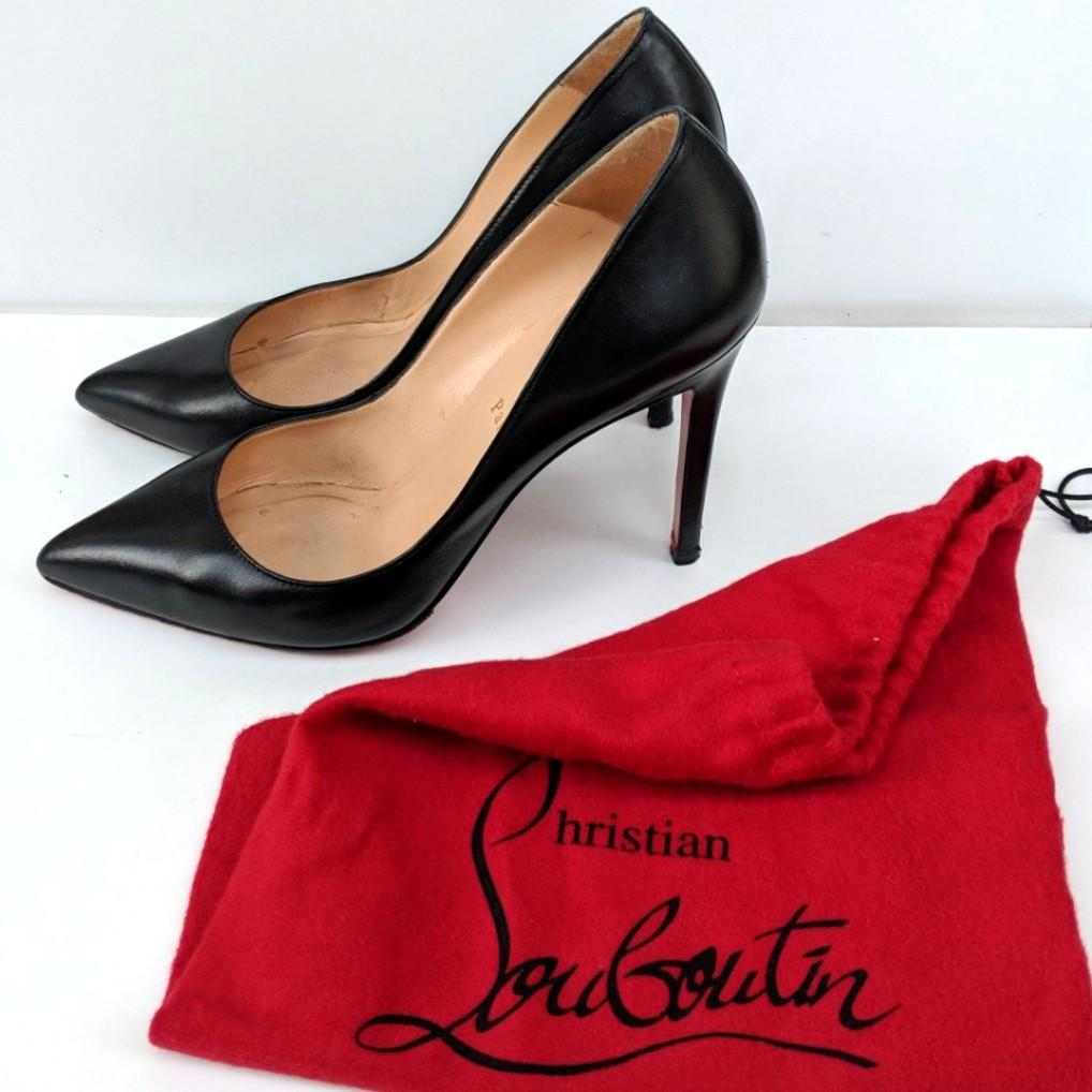 Christian Louboutin size 39.5 pigalle black leather heels pumps 100% authentic | FREE SHIPPING