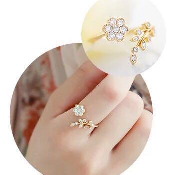 Korean Elegant Ring Flower Leaf Rhinestone Promise Heart