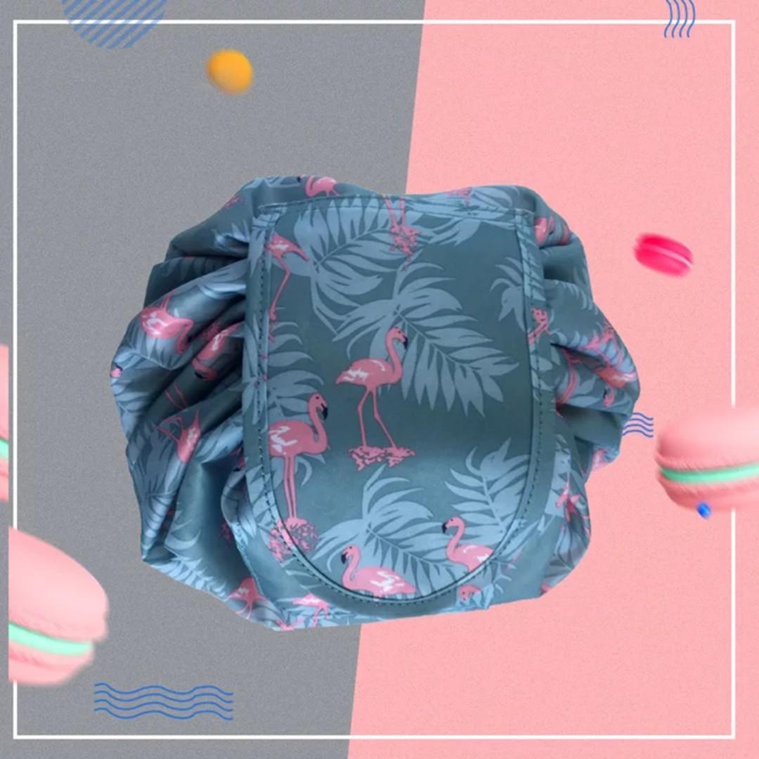 a48a3e3bc321 Lazy Portable Makeup Bag Waterproof Drawstring Cosmetic Bag Makeup ...