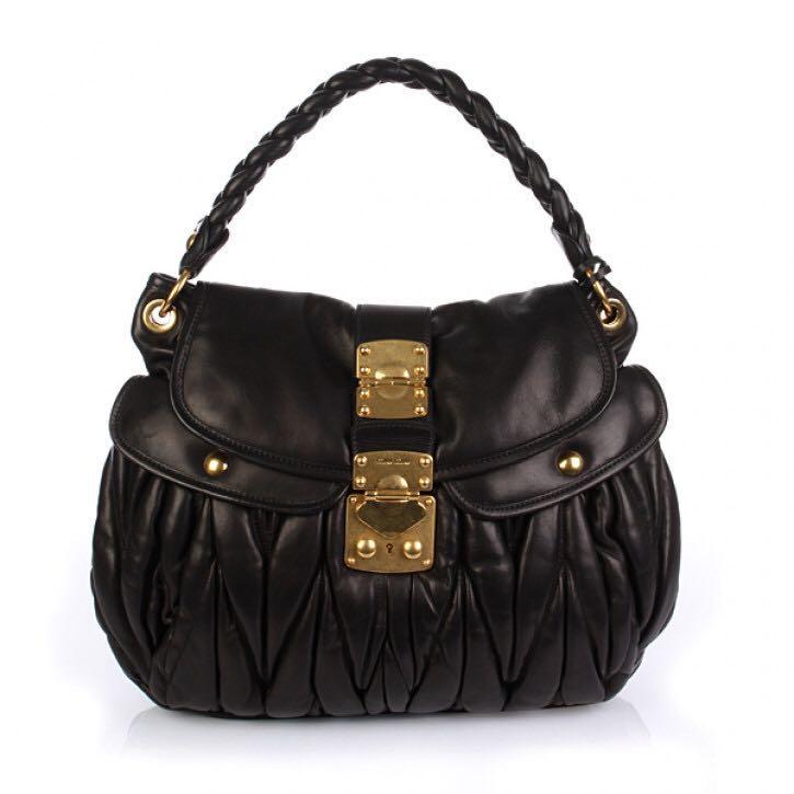 Miu Miu Matelasse Coffer Sacca Nero black nappa leather bag 3b884c6d26dbc