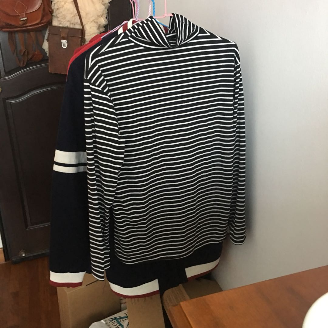 2708867c37 new striped mock neck black and white long sleeved shirt, Men's ...