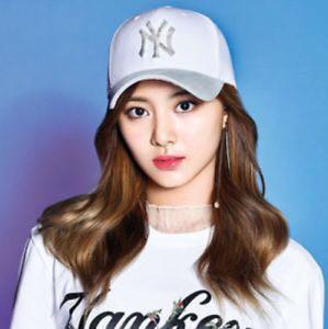 NY MLB Twice Tzuyu White Shiny Silver Cap Hat f2e07e69504