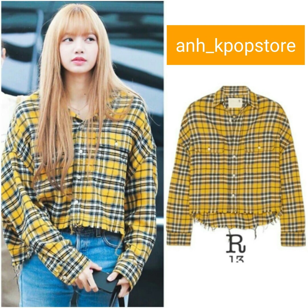 Po Blackpink Lisa Nah Yellow Long Sleeve Top And Jeans Anh