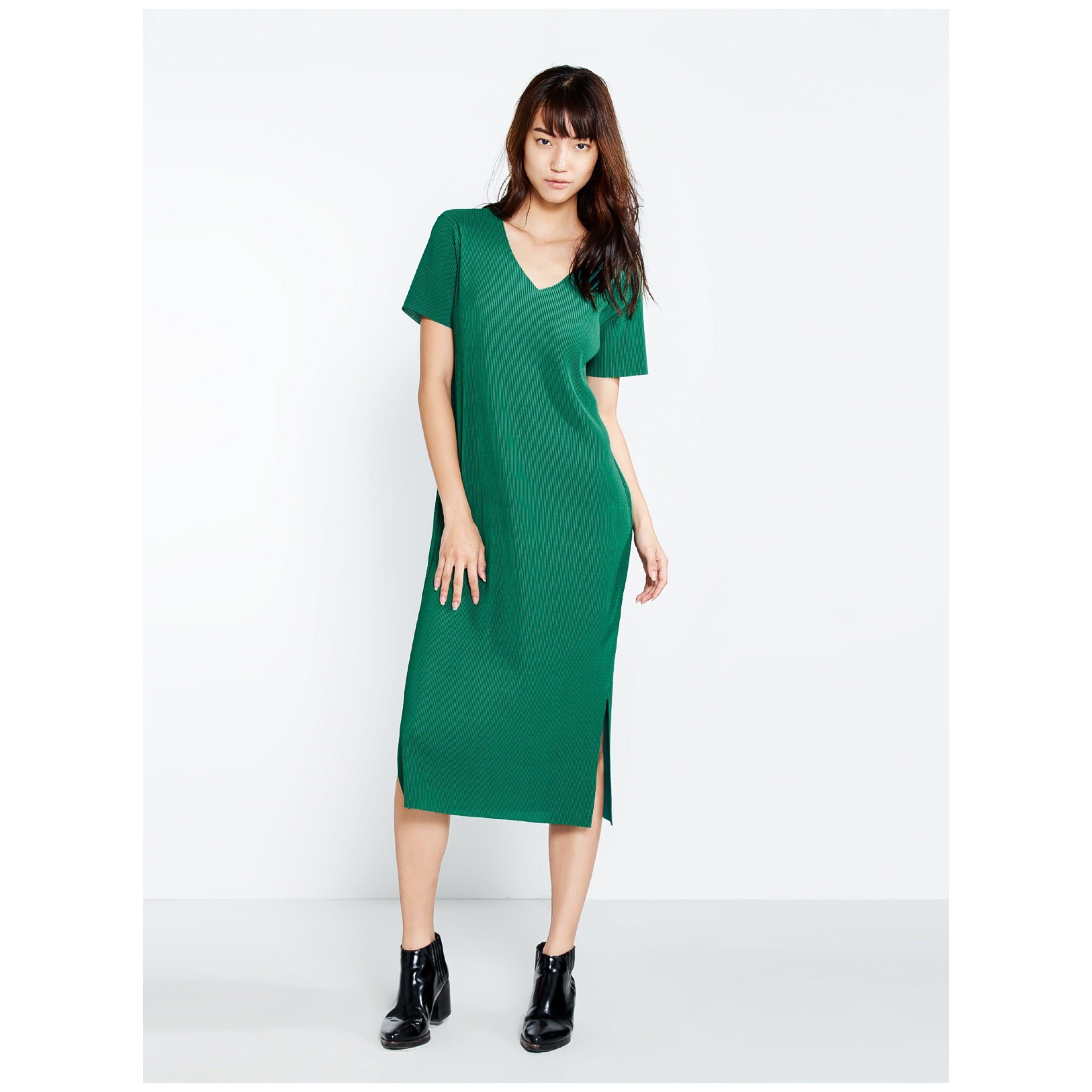 51b658899285 Pomelo V-Neck Ribbed Midi Dress (Green)