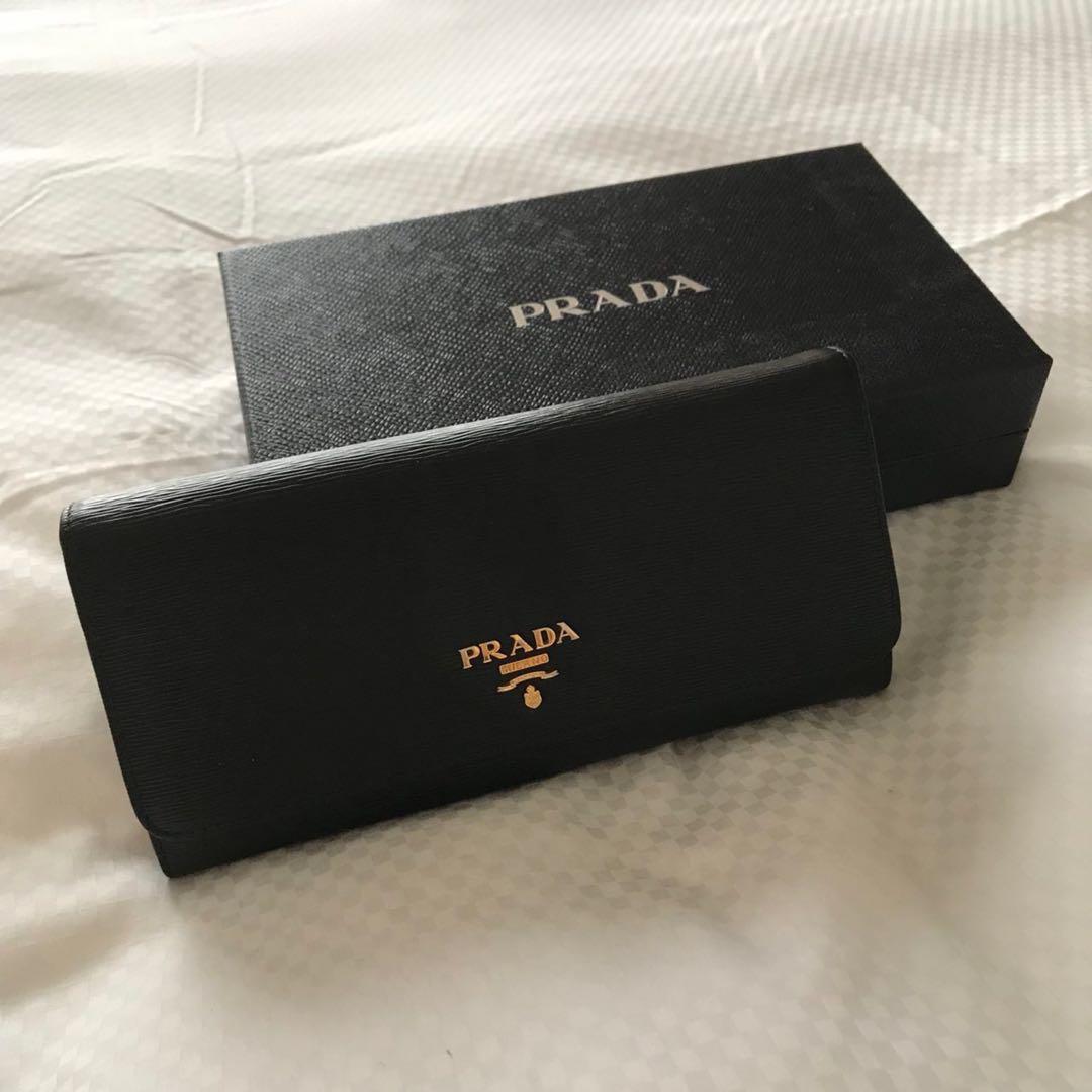 aeb15f54fb9cb9 Prada women's long wallet - Black, Women's Fashion, Bags & Wallets ...