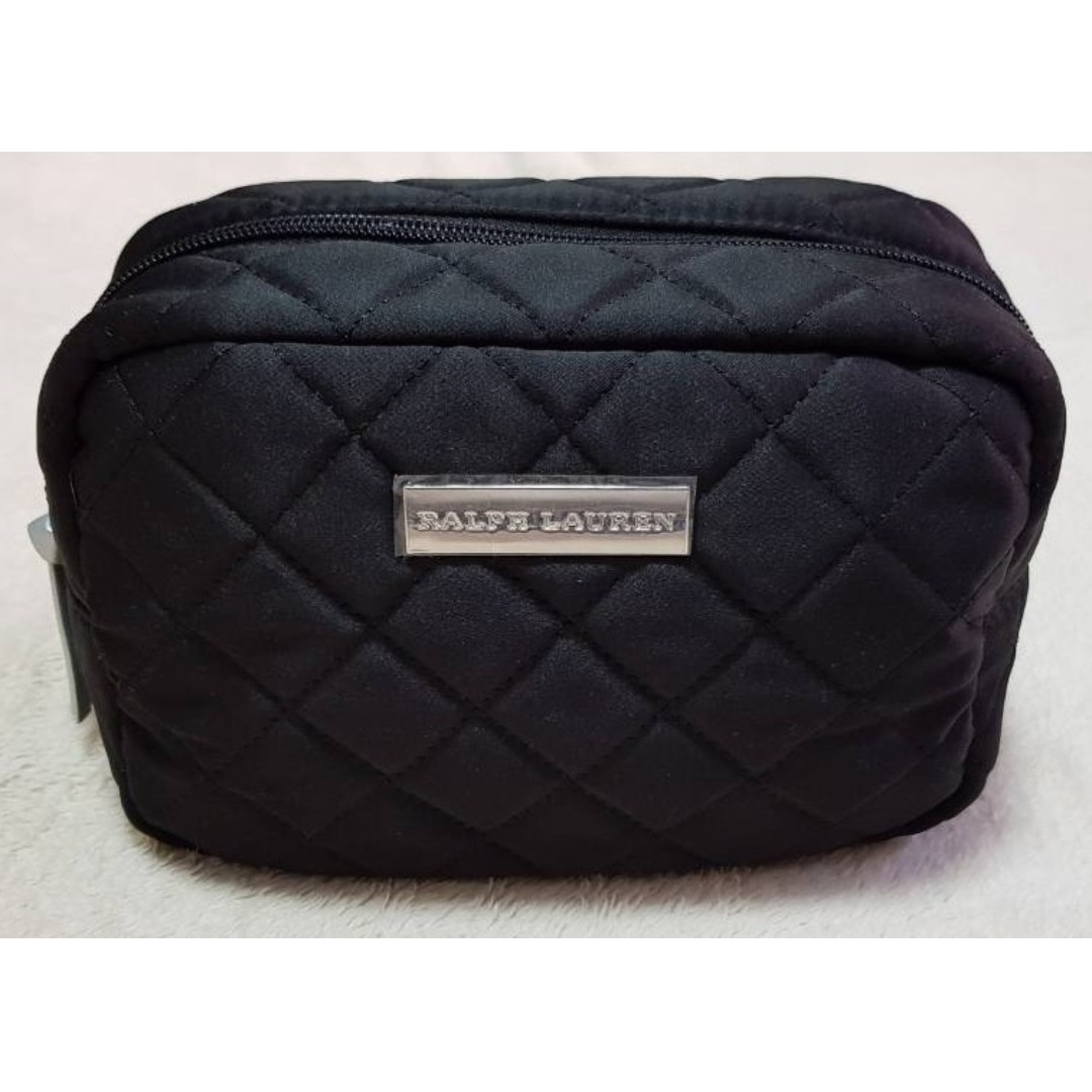 386bf4c8f2e3 Ralph Lauren Tender Romance Quilted Makeup Cosmetic Bag Black ...