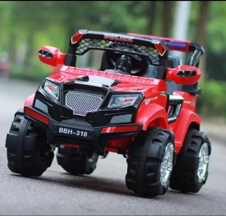Red Police Hummer Jeep Rechargeable Ride On Car Truck Babies Kids