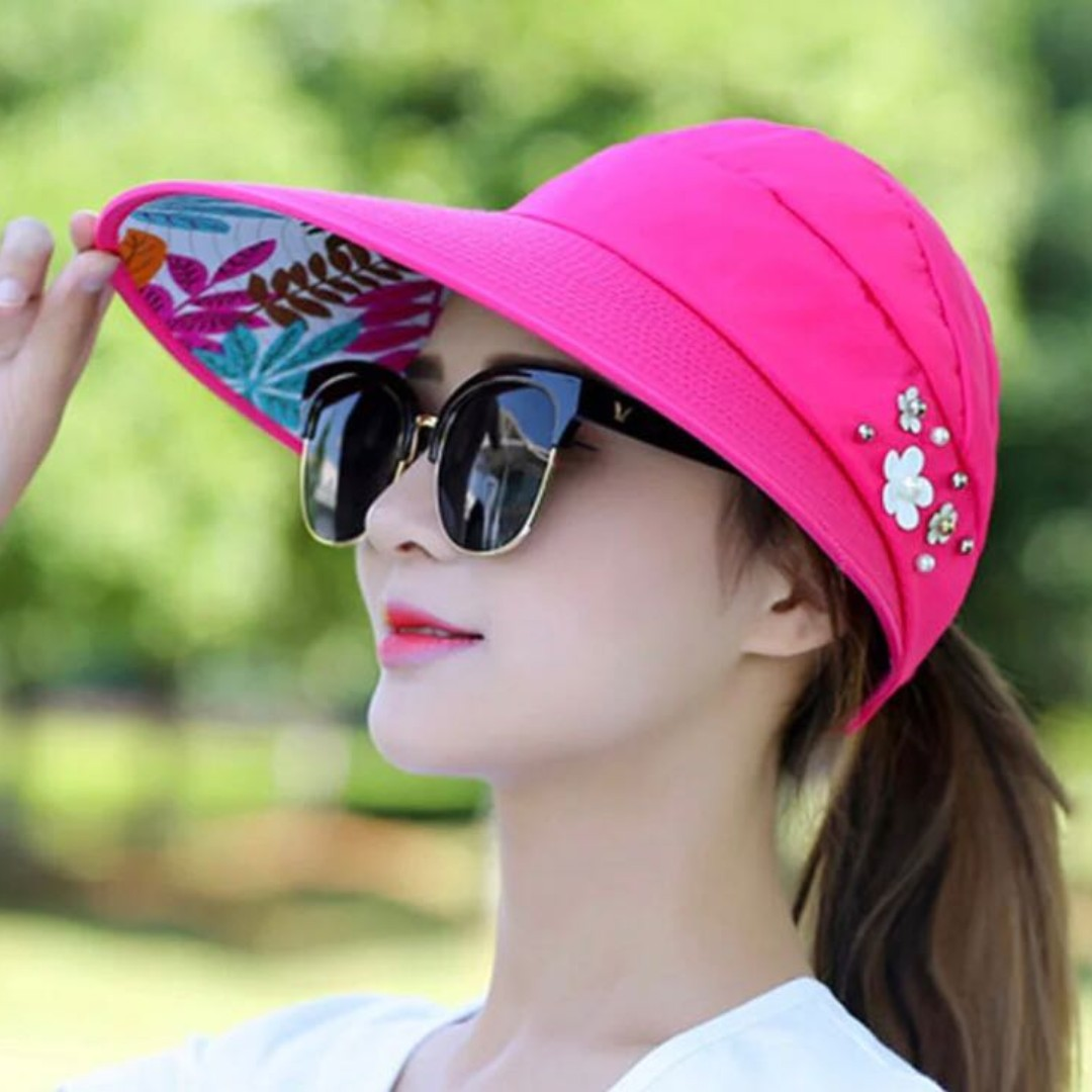 683d4a379e6b4 Sun Hats for Women Wide Brim UV Protection Summer Beach Visor Cap ...