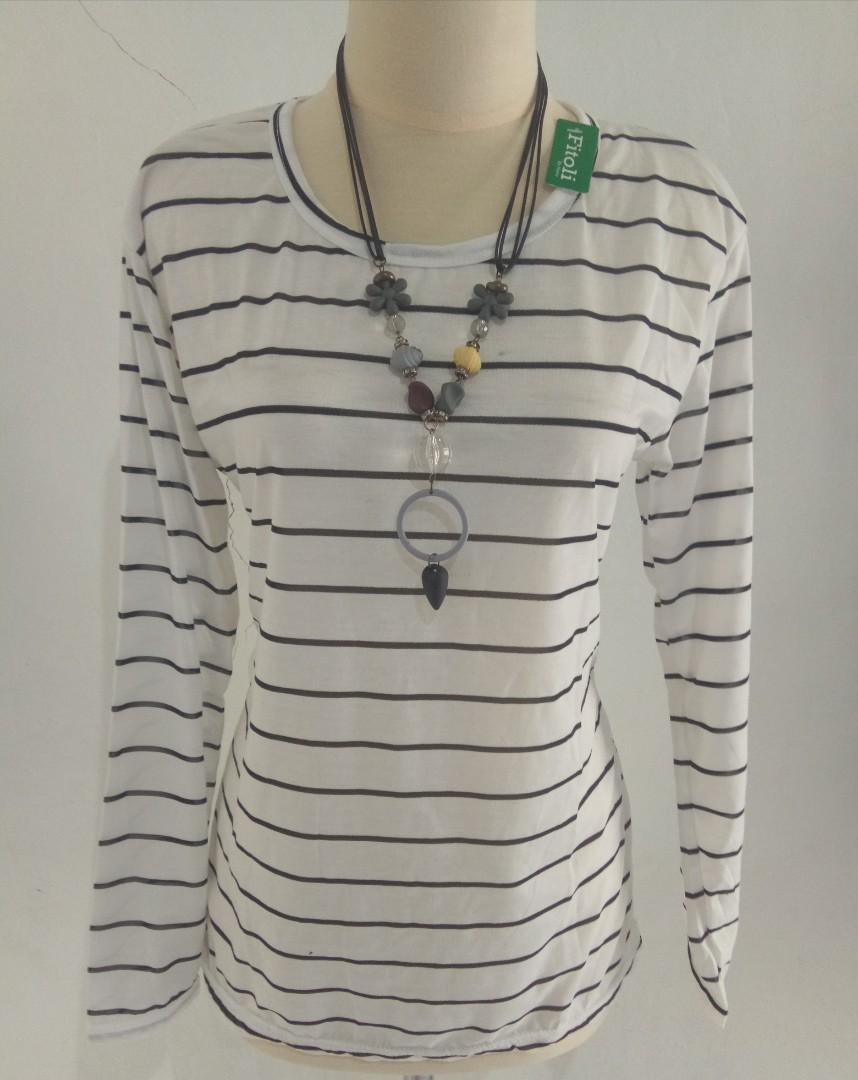 T-Shirt Kaos Salur Lengan Panjang Wanita, Women's Fashion, Women's Clothes, Tops on Carousell