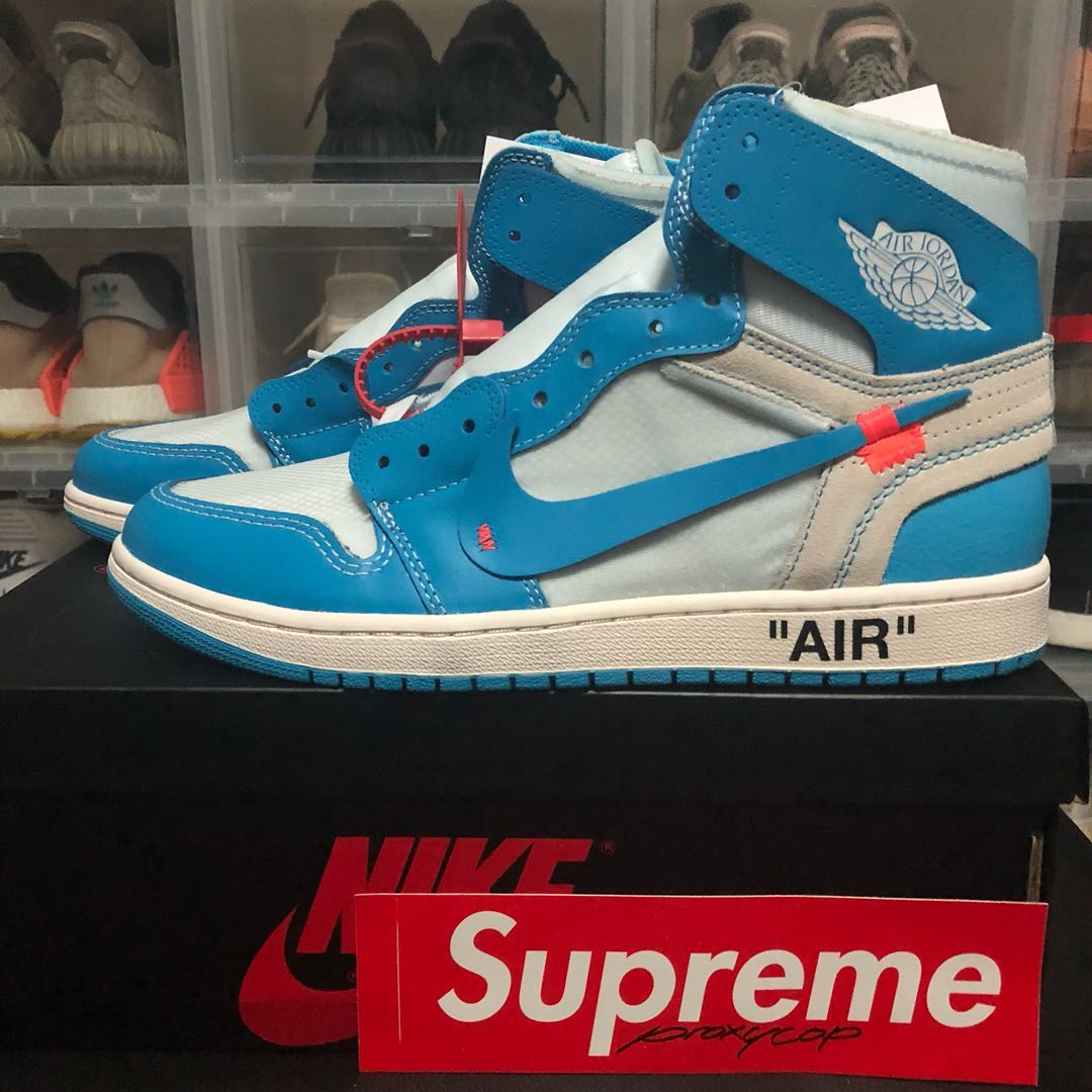 7f930538812 US 10.5 Off-White Air Jordan 1 Retro High University Blue UNC, Men's ...