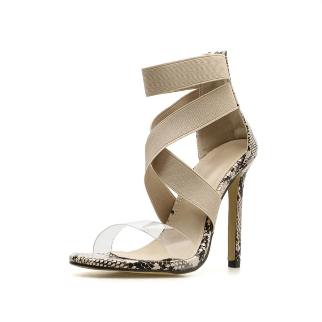 deef0d78672 women's stiletto high heels sandals snakeskin pattern beige wide cross tied  transparent PVC toe bands ankle strap shoes