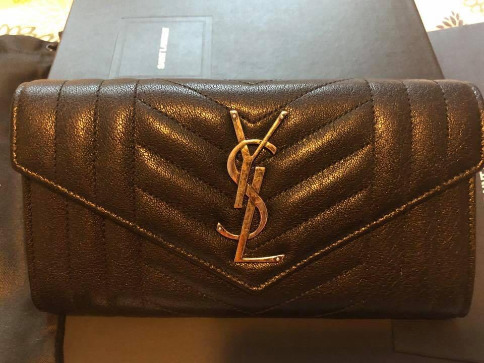 YSL monogram flap wallet