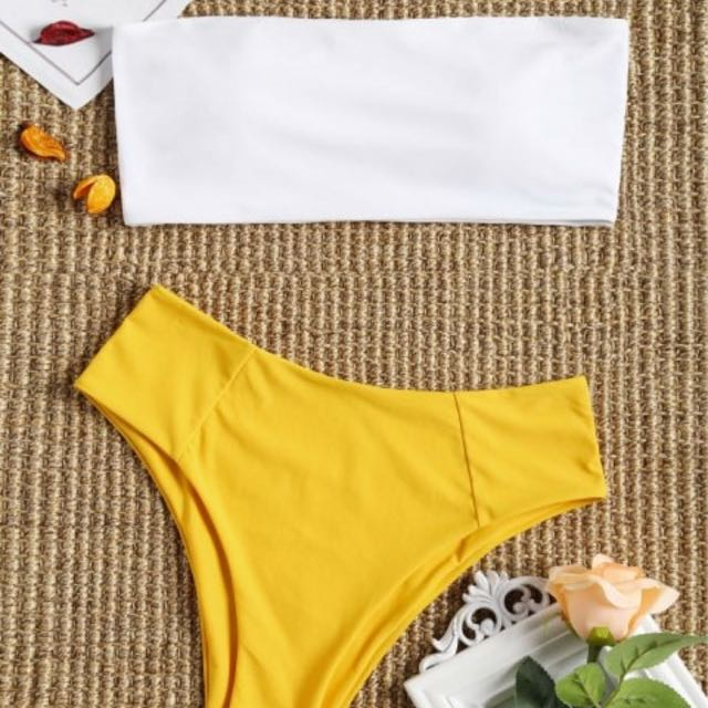 4bb4692177b95 Zaful High Waist Bikini Bandeau, Women's Fashion, Clothes on Carousell