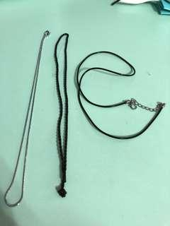 DIY necklace-silver, rubber, rope