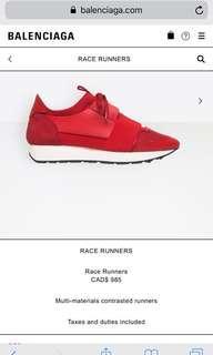 Balenciaga race runners red size 39